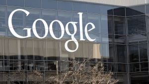 This Jan. 3, 2013, file photo shows a Google sign at the company's headquarters in Mountain View, Calif. (AP / Marcio Jose Sanchez)