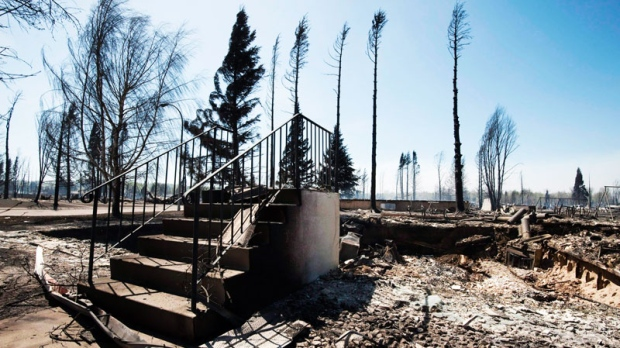 All that remains of a house in Slave Lake, Alberta, on Monday, May 16, 2011 is a set of steps. (Ian Jackson / THE CANADIAN PRESS)