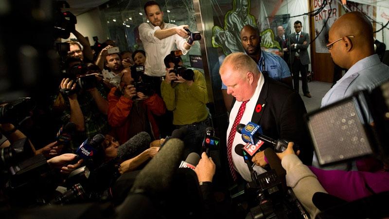 Toronto Mayor Rob Ford addresses media outside his office in Toronto on Thursday, Oct. 31, 2013. (Nathan Denette / THE CANADIAN PRESS)