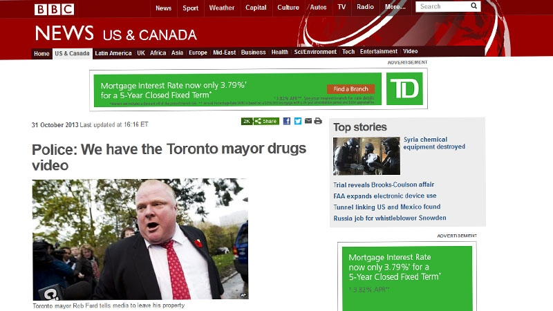 A screen grab shows a BBC article on Toronto Mayor Rob Ford on Thursday, Oct. 31, 2013.