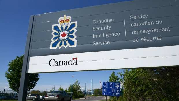 A sign for the Canadian Security Intelligence Service building is shown in Ottawa,  May 14, 2013. (Sean Kilpatrick / THE CANADIAN PRESS)