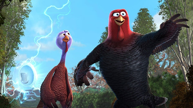 Jenny, voiced by Amy Poehler, left, and Reggie, voiced by Owen Wilson in a scene eOne Films Canada's 'Free Birds'
