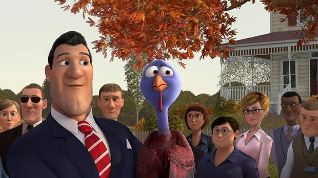 The President, voiced by Jimmy Hayward, left, and Reggie, voiced by Owen Wilson in a scene eOne Films Canada's 'Free Birds'