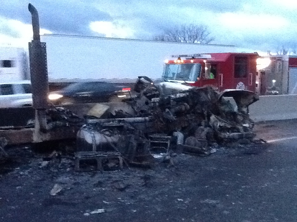 The aftermath of a fiery crash on Highway 401 west of Milton, Friday, Nov. 1, 2013. (David Woodford)
