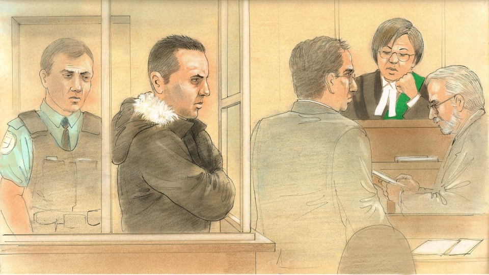This sketch shows Alexander Lisi, 35, appearing before a packed courtroom, where he was released to the custody of his father on $5,000 bail, on Friday, Nov. 1, 2013. ( John Mantha / CTV News)