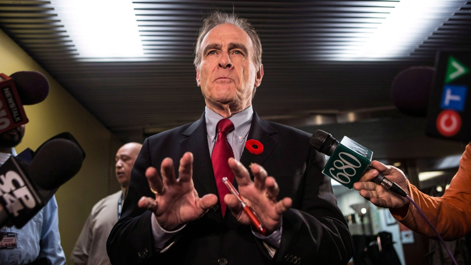 Toronto's Deputy Mayor Norm Kelly speaks to reporters at City Hall on Friday, Nov. 1, 2013. (Chris Young / THE CANADIAN PRESS)