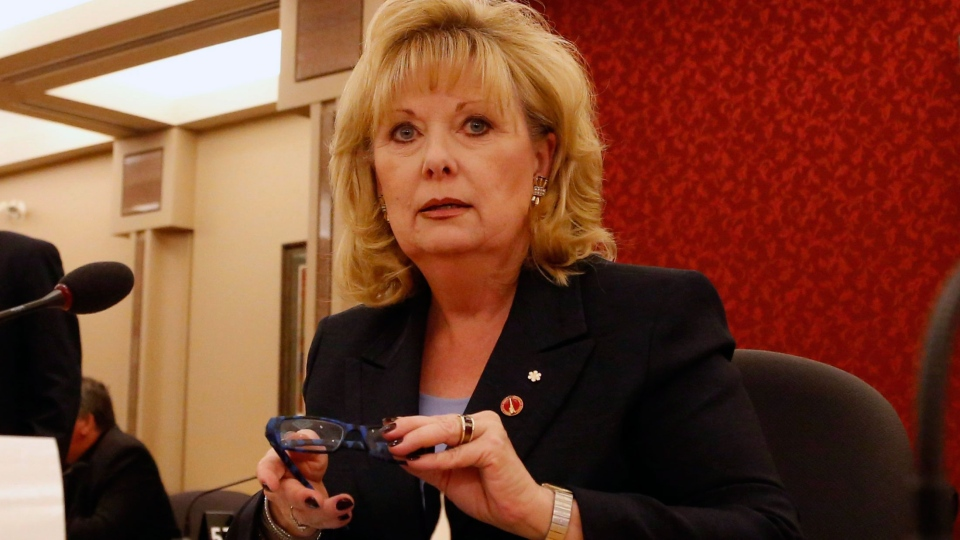 Senator Pamela Wallin appears at a Senate committee hearing on Parliament Hill in Ottawa on Monday, August 12, 2013. (Patrick Doyle / THE CANADIAN PRESS)
