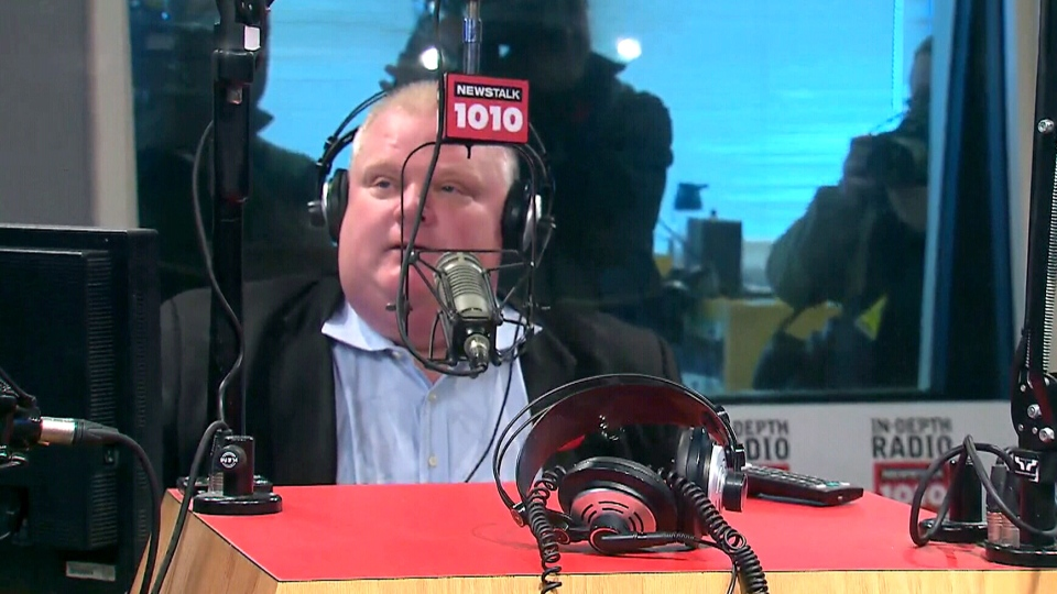 Toronto Mayor Rob Ford appears on his weekly radio talk show Sunday, Nov. 3, 2013.