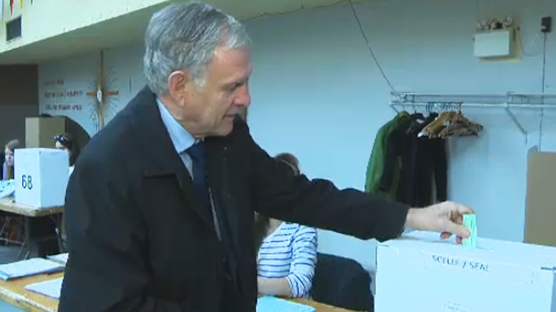 Mayoral candidate Marcel Cote is seen here casting his ballot Sunday morning. (CTV Montreal Nov. 3, 2013)