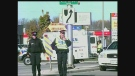 Police respond at the scene of a crash involving a pedestrian in northwest London, Ont. on Sunday, Nov. 3, 2013.