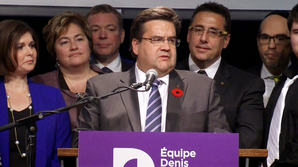 Denis Coderre speaks to a room of supporters after his victory in Montreal on Sunday, Nov. 3, 2013.