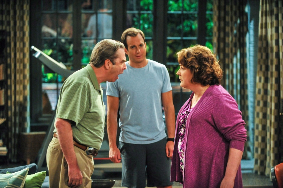 This publicity image released by CBS shows, from left, Beau Bridges, Will Arnett and Margo Martindale in a scene from the comedy series 'The Millers.'