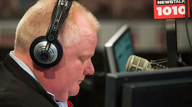 Toronto Mayor Rob Ford appears on his weekly radio show in Toronto, Sunday, Nov. 3, 2013. (Mark Blinch / THE CANADIAN PRESS)