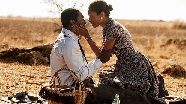 Idris Elba, as Nelson Mandela, left