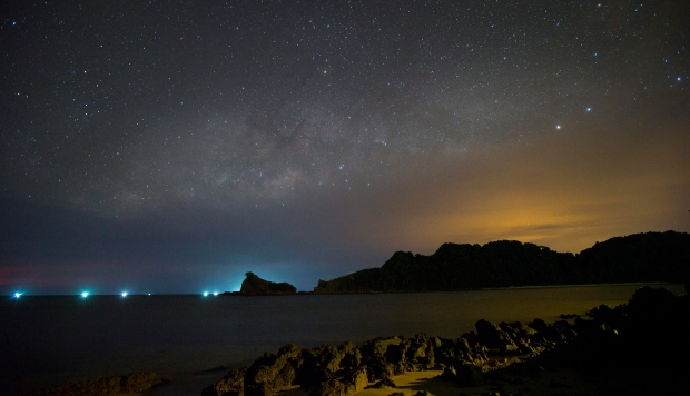 The Milky Way can be seen over Gem Island, east coast of Malaysia, Saturday, June 1, 2013. (AP / Vincent Thian)