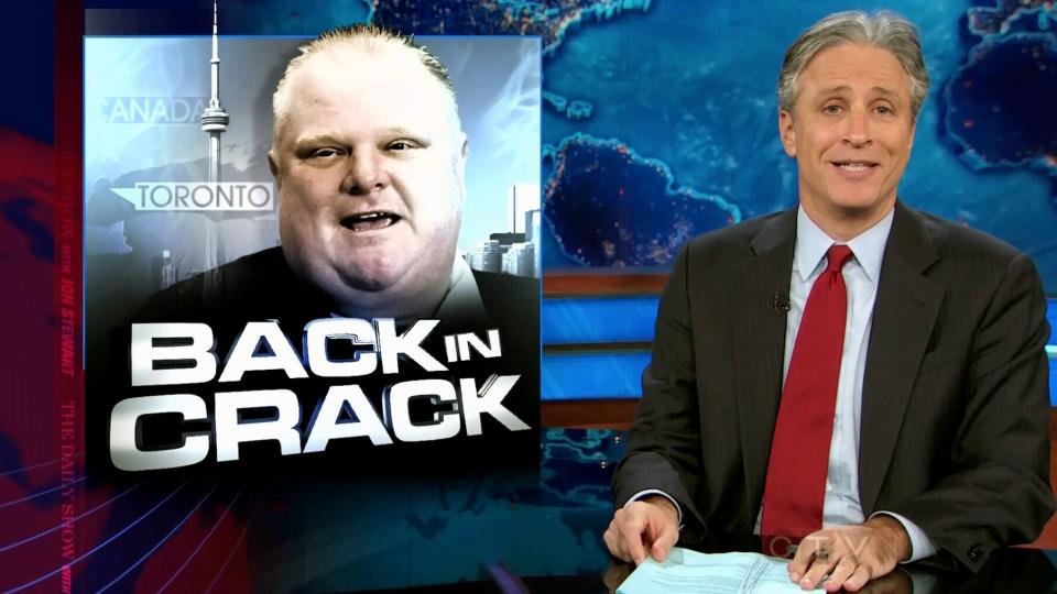 Jon Stewart takes aim at Toronto Mayor Rob Ford on The Daily Show, Nov. 4, 2013.