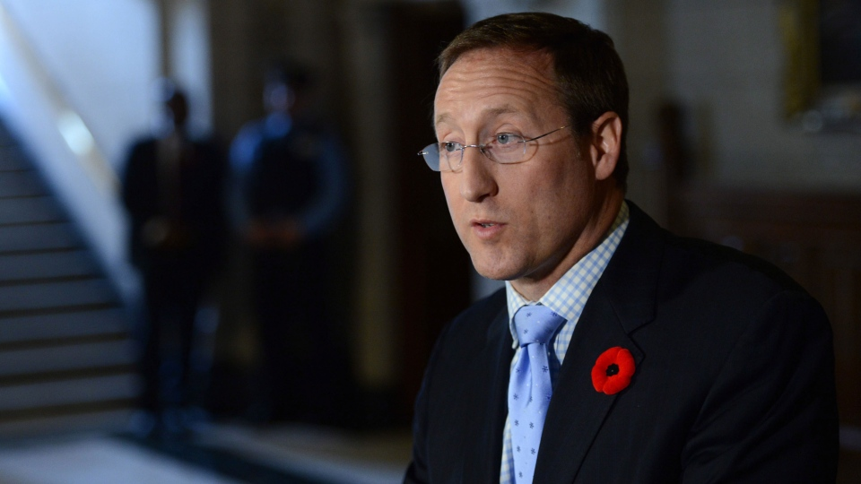 Minister of Justice and Attorney General of Canada Peter MacKay reacts to the Toronto mayor's admission to smoking crack cocaine on Parliament Hill in Ottawa on Tuesday, Nov. 5, 2013. (Sean Kilpatrick / THE CANADIAN PRESS)