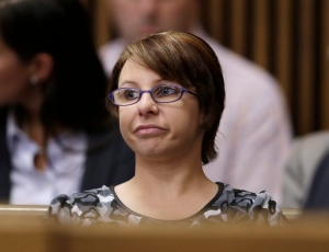 Michelle Knight sits in the courtroom during the sentencing phase for Ariel Castro in Cleveland on Aug. 1, 2013. (AP Photo/Tony Dejak)