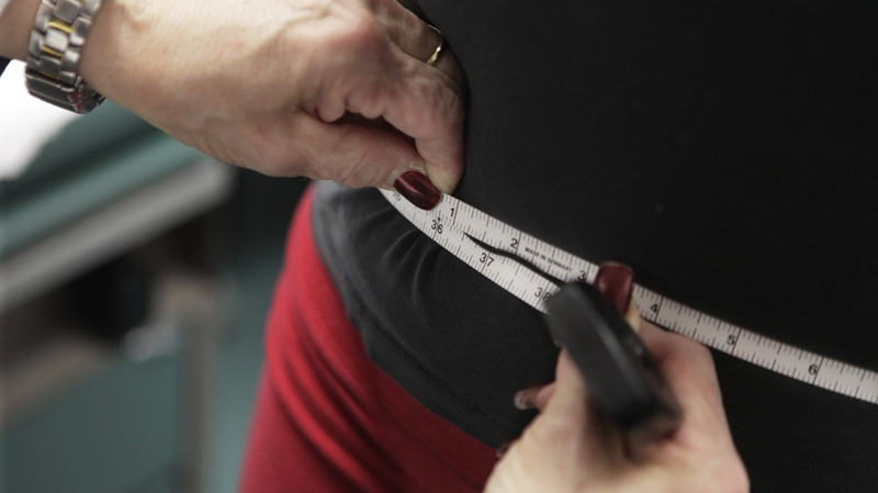 In this Jan. 2010 file photo, a woman has her waist measured at Rush University Medical Center in Chicago. (AP Photo/M. Spencer Green)