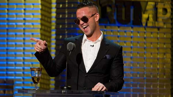 """Mike """"The Situation"""" Sorrentino appears onstage at the Comedy Central Roast of Donald Trump in New York, Wednesday, March 9, 2011."""