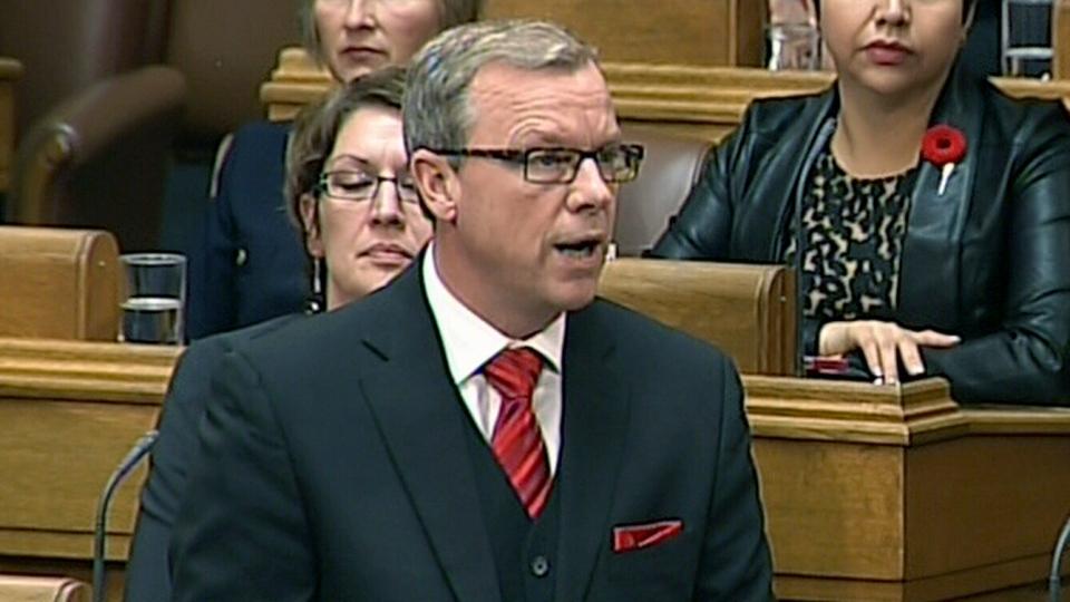 Saskatchewan Premier Brad Wall speaks at the Legislative Assembly of Saskatchewan in Regina, Wednesday, Nov. 6, 2013.