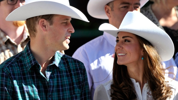 The duke and duchess of cambridge watch the annual calgary stampede parade in calgary alta