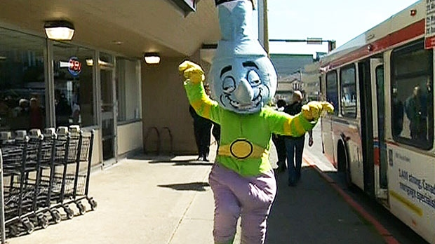 """In a five-minute segment on the Colbert Report, the satirical show travelled north to """"the lawless tundra that is Canada"""" to investigate a bong-shaped mascot that has drawn the ire of some Esquimalt, B.C., citizens."""
