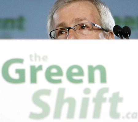 Liberal Leader Stephane Dion announces his party's 'green shift' plan on Parliament Hill in Ottawa on Thursday, June 19, 2008. (Sean Kilpatrick / THE CANADIAN PRESS)