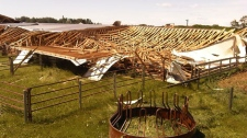 A riding arena located west of Innisfail was destroyed after a powerful storm hit the region Thursday, July 7, 2011.