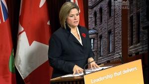 Ontario NDP Leader Andrea Horwath speaks to reporters at Queen's Park in Toronto, Thursday, Nov. 7, 2013.