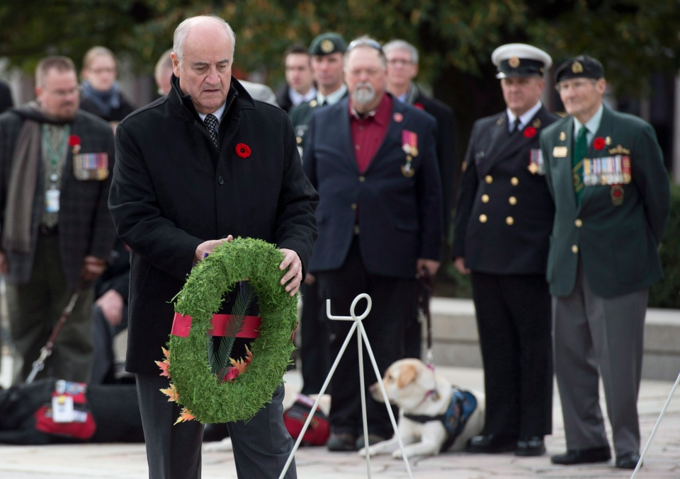 Minister of Veterans Affairs Julian Fantino places a wreath during a ceremony at the National War Memorial in Ottawa, Tuesday, Nov. 5, 2013. (Adrian Wyld / THE CANADIAN PRESS)