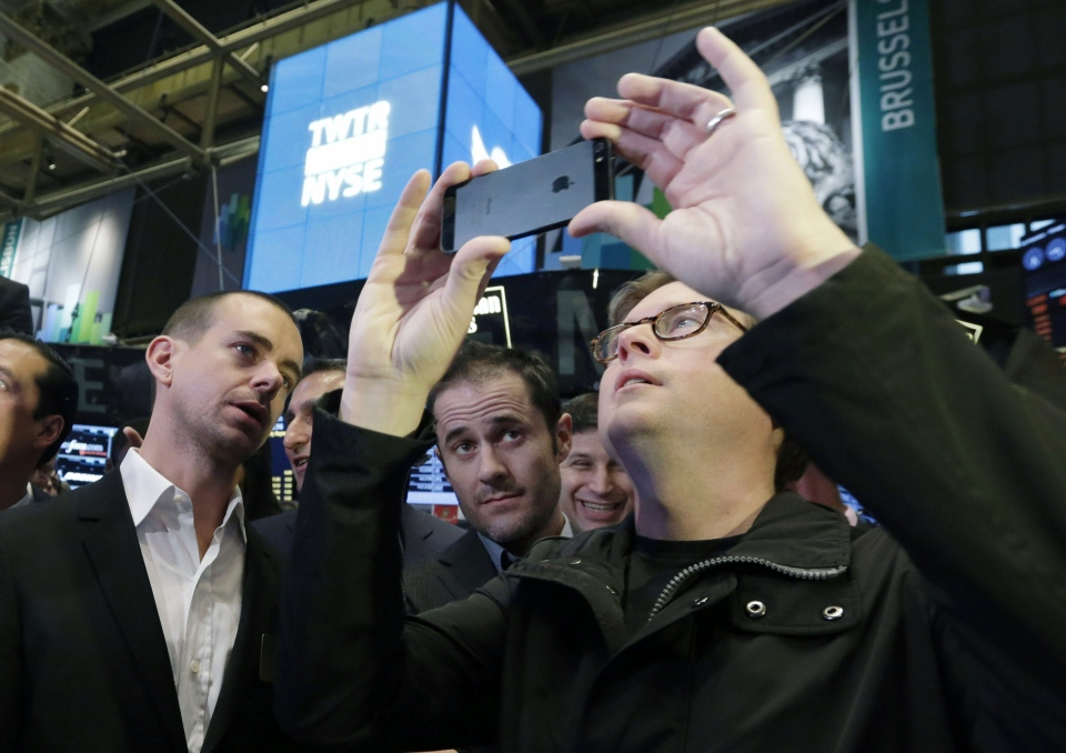 Twitter Chairman and co-founder Jack Dorsey, and co-founders Evan Williams and Biz Stone, wait for the opening bell to be rung at the New York Stock Exchange, Thursday, Nov. 7, 2013. (AP / Richard Drew)