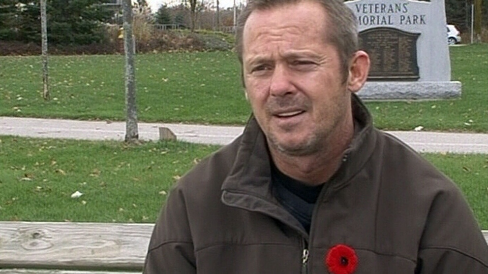 Veteran Tim Aleman, who was injured in Afghanistan in 2009, tells CTV News he's questioning Ottawa's treatment of veterans, in Orillia, Ont., Thursday, Nov. 7, 2013.