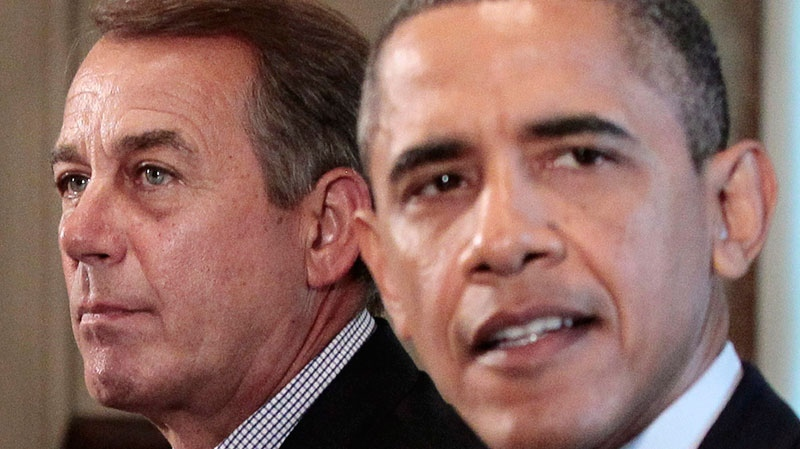 House Speaker John Boehner of Ohio listens at left as President Barack Obama speaks during a meeting with Congressional leadership to discuss the debt, Thursday, July 7, 2011, in the Cabinet Room of the White House in Washington. (AP / Pablo Martinez Monsivais)