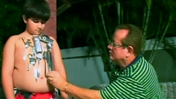 In this screen grab video image 'magnet boy' is seen.