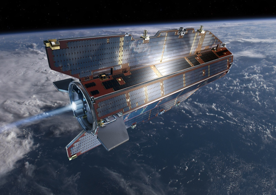 GOCE, short for Gravity field and steady-state Ocean Circulation, will fall to earth this weekend (Image: ESA /AOES Medialab)