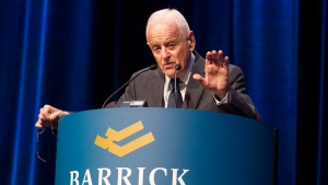 In this April 24, 2013 file photo, Barrick Gold's chairman and founder Peter Munk addresses shareholders at the mining company's announcement of their first quarter results in Toronto. (Chris Young / THE CANADIAN PRESS)
