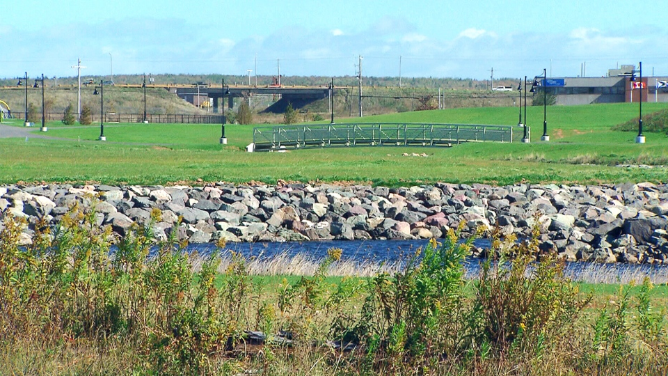 The eighty-acre greenbelt, called Open Hearth Park, in Sydney, N.S. features walking trails, a soccer pitch, and a children's playground.