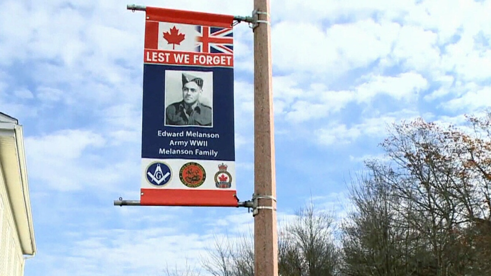 Banners honour local veterans for Remembrance Day in the community of St. George, N.B.