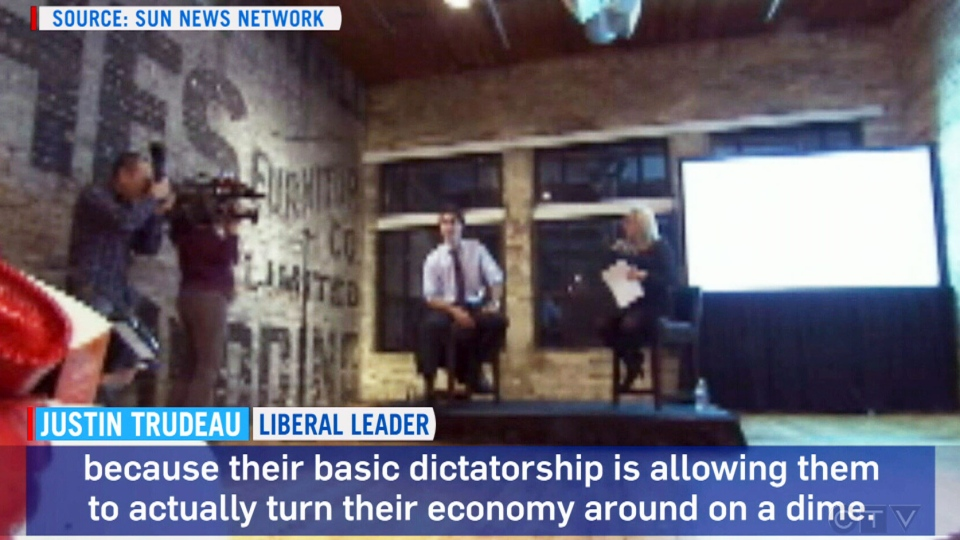 In a video at Liberal Leader Justin Trudeau's ladies-only fundraiser, he told the crowd he admired China's 'basic dictatorship' in Toronto, Ont., Friday, Nov. 8, 2013. (Sun News Network)