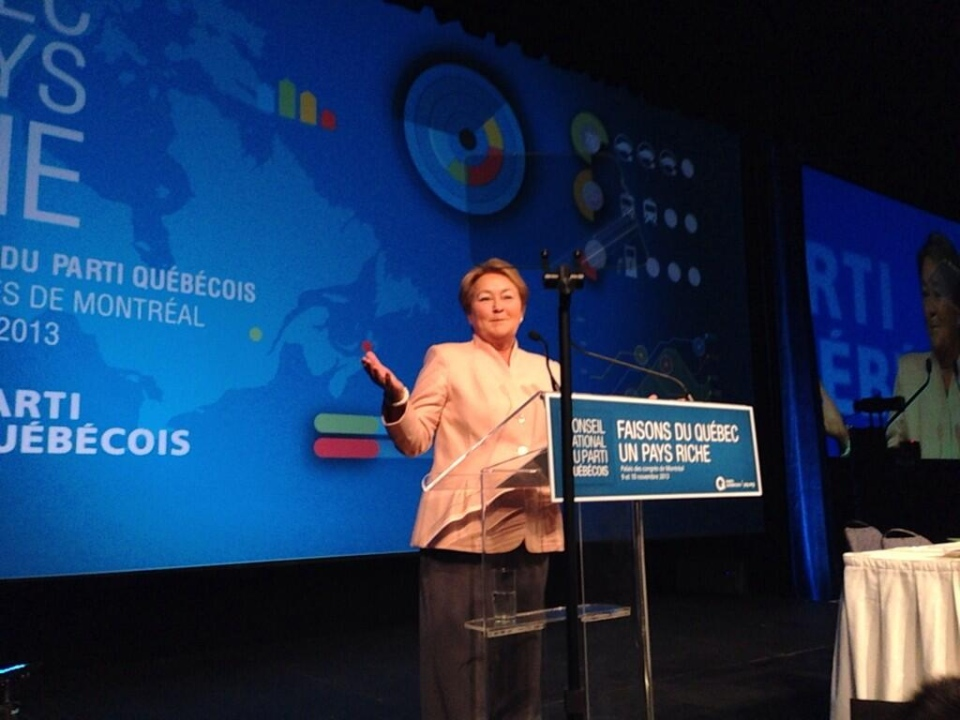 Quebec Premier Pauline Marois addresses delegates at the PQ's national council Nov.9, 2013. Max Harrold/ CTV Montreal