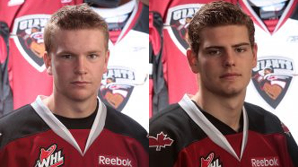 Vancouver Giants players Tyler Kulak, left, and Jackson Houck both face charges of assault in connection with a street fight that took place outside a house party in Tsawassen in the summer, according to Delta police. Nov. 9, 2013. (VancouverGiants.com)