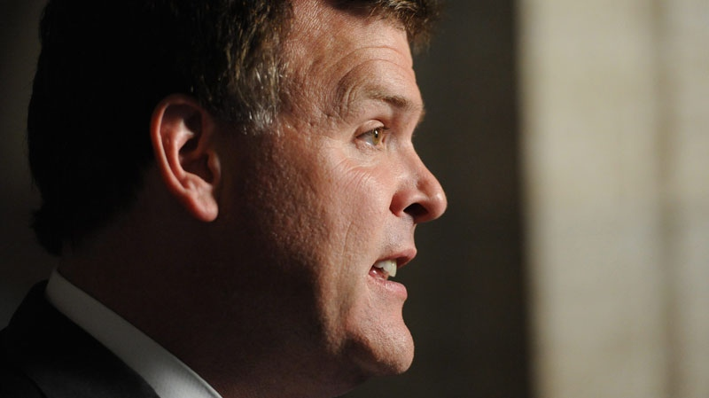 Minister of Foreign Affairs John Baird speaks to reporters in the Foyer of the House of Commons on Parliament Hill in Ottawa on Tuesday, July 5, 2011. (Sean Kilpatrick / THE CANADIAN PRESS)