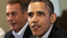 President Barack Obama and House Speaker John Boehner of Ohio, left, meet with Congressional leadership in the Cabinet Room of the White House, Sunday, July 10, 2011, in Washington, to discuss the debt. (AP Photo/Carolyn Kaster)