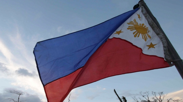 Philippines flag in Tacloban city, Nov. 9, 2013
