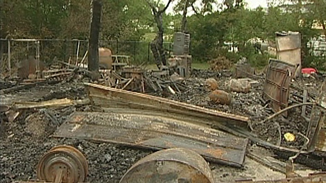 This is all that is left of Kim and Rick Dell's home after a fire started in a shed where propane tanks were stored.