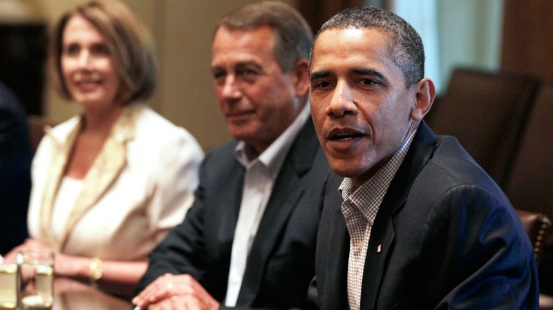 U.S. President Barack Obama, right, House Democratic Leader Nancy Pelosi of Calif., left, and House Speaker John Boehner of Ohio, center, meet with Congressional leadership in the Cabinet Room of the White House, Sunday, July 10, 2011, in Washington, to discuss the debt. (AP / Carolyn Kaster)