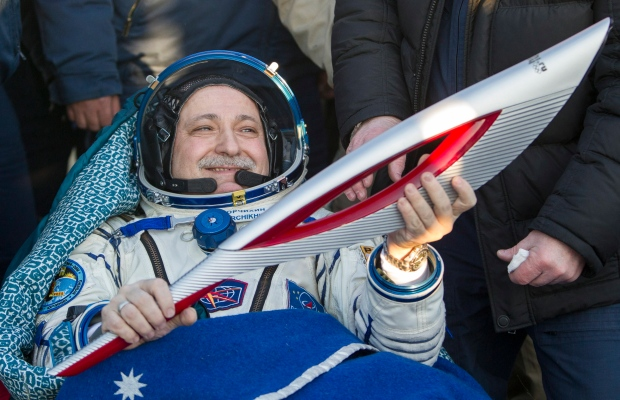 Sochi Olympic torch back from space