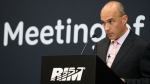 Former CEO Jim Balsillie speaks at the Research in Motion annual meeting in Waterloo, Ontario, Tuesday, July 12, 2011. (Dave Chidley / The Canadian Press)