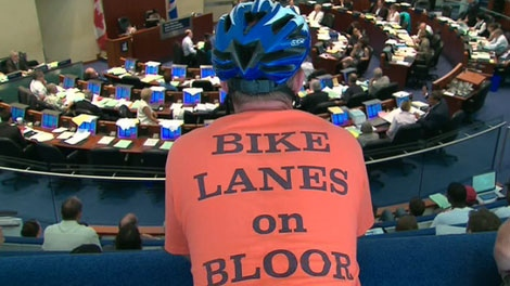 Toronto's bike lanes are up for debate in city hall on Tuesday, July 12.